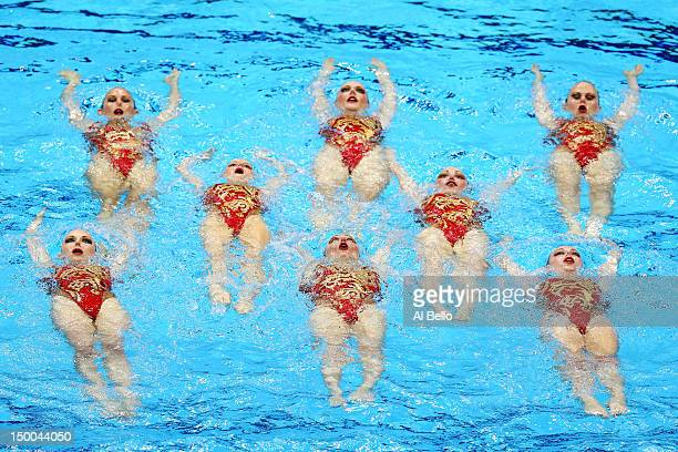 Russia competes in the Women's Teams Synchronised Swimming Technical Routine on Day 13 of the London 2012 Olympic Games at the Aquatics Centre on...