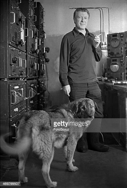 Russia, Dalny Vostok, Sakha , 1970s: The radio operator of polar station Victor Nikitin, The bear islands, Island of Four, Arctic ocean.