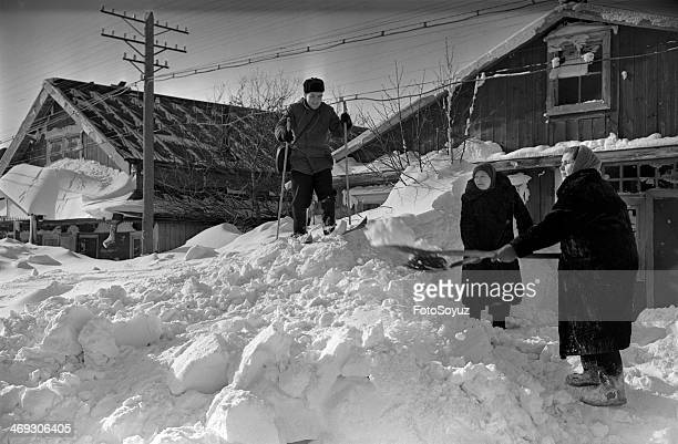 Russia Dalny Vostok Sakhalin Region 1950s Island Kunashir SouthernKurilsk Clearing of street from a snow