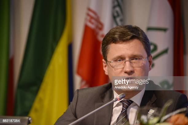 Russia Energy Minister Alexander Novak Secretary General of OPEC Mohammed Barkindo and Saudi Arabia's Minister of Energy Industry and Mineral...