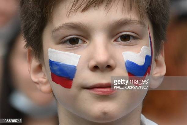 Russia fan before the friendly football match Russia v Bulgaria in Moscow on June 5 in preparation for the UEFA European Championship.