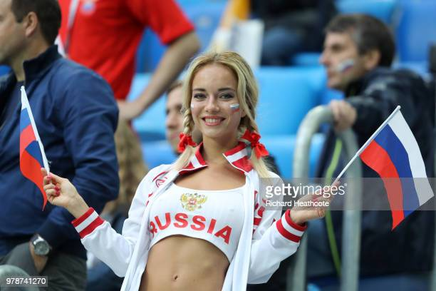 Russia fan enjoys the pre match atmosphere prior to the 2018 FIFA World Cup Russia group A match between Russia and Egypt at Saint Petersburg Stadium...