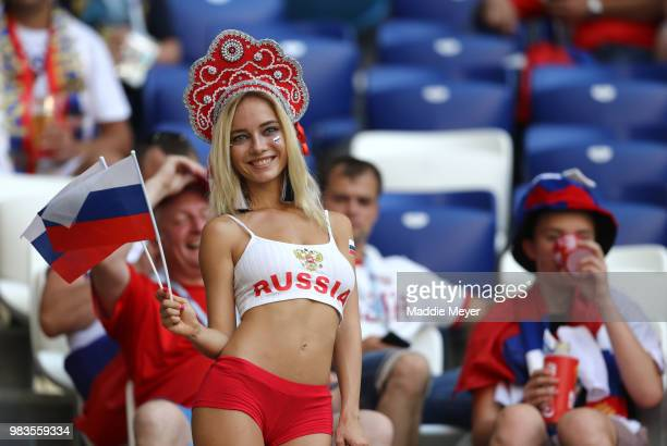 Russia fan enjoys the pre match atmosphere prior to the 2018 FIFA World Cup Russia group A match between Uruguay and Russia at Samara Arena on June...