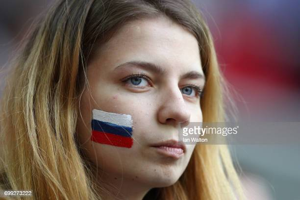 Russia fan enjoys the pre match atmosphere prior to the FIFA Confederations Cup Russia 2017 Group A match between Russia and Portugal at Spartak...