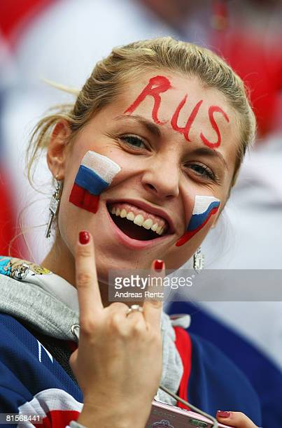 Russia fan shows their support ahead of the UEFA EURO 2008 Group D match between Greece and Russia at Stadion Wals-Siezenheim on June 14, 2008 in...