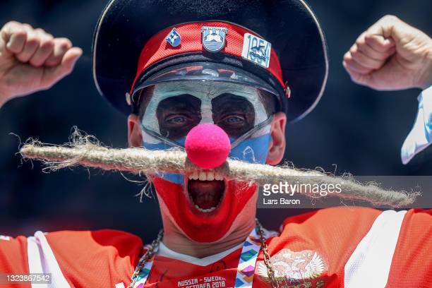 Russia fan shows their support prior to the UEFA Euro 2020 Championship Group B match between Finland and Russia at Saint Petersburg Stadium on June...