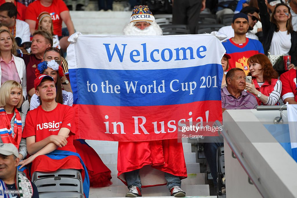 A Russia fan with his 2018 World Cup flag before the UEFA EURO 2016 Group B match between Russia and Wales at Stadium Municipal on June 20, 2016 in Toulouse, France.