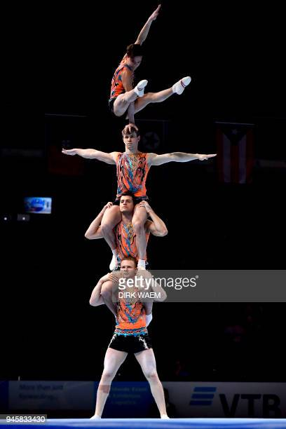 Russia federation Men's Group Viktor Grechukhin Vadim Nabiev Aleksandr Pchelnikov Andrei Shkvarok perform on the first day of the 26th edition of the...