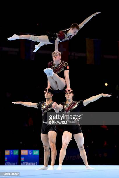 Russia federation Men's Group Viktor Grechukhin Vadim Nabiev Aleksandr Pchelnikov and Andrei Shkvarok perform on the first day of the 26th edition of...