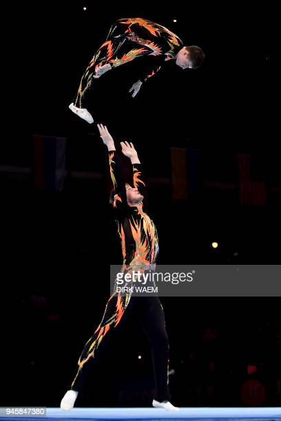 Russia federation pair Igor Mishev and Nikolay Suprunov perform on the first day of the 26th edition of the World Championships Acrobatic Gymnastics...