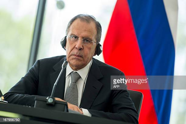 Russia Foreign Minister Sergei Lavrov attends a press conference after his meeting with his Slovenian counterpart in Brdo near Kranj on May 3, 2013....