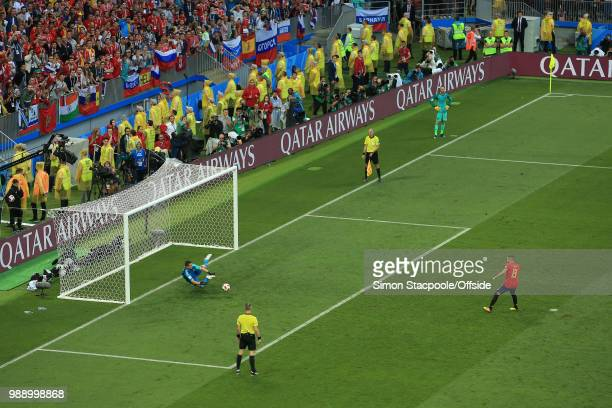 Russia goalkeeper Igor Akinfeev saves the penalty of Koke of Spain during the 2018 FIFA World Cup Russia Round of 16 match between Spain and Russia...