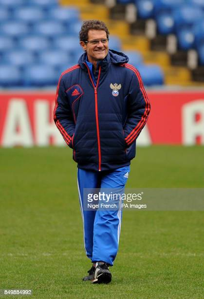 Russia Head Coach Fabio Capello during a training session at Stamford Bridge London