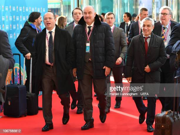 Russia head coach Stanislav Cherchesov and Russia delegates arrive prior to the UEFA Euro 2020 Draw on December 2 2018 in Dublin Ireland
