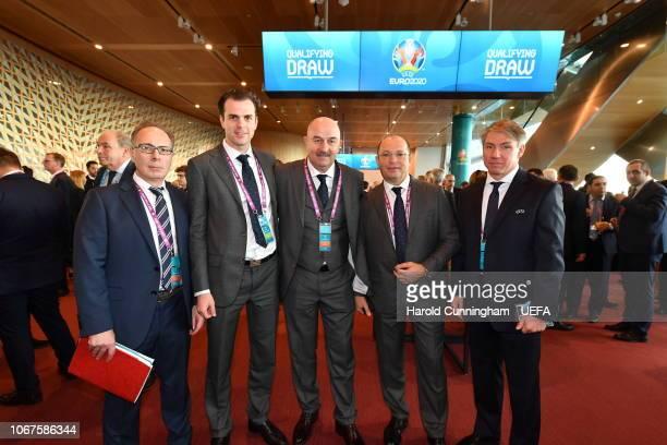 Russia head coach Stanislav Cherchesov centre with delegates prior to the UEFA Euro 2020 Draw on December 2 2018 in Dublin Ireland