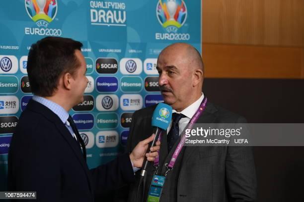 Russia head coach Stanislav Cherchesov during post draw flash reactions following the UEFA Euro 2020 Draw on December 2 2018 in Dublin Ireland