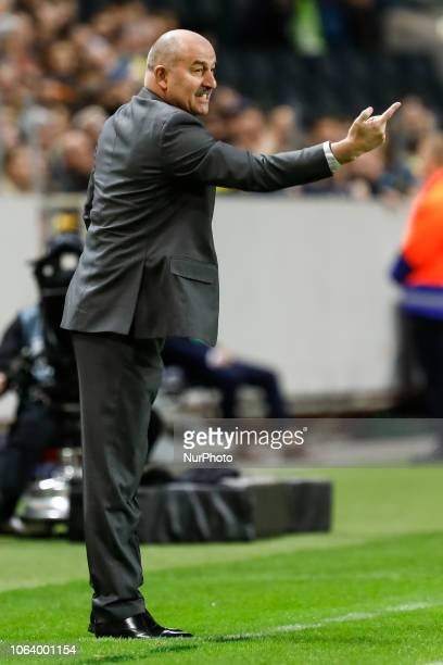 Russia head coach Stanislav Cherchesov gestures during the UEFA Nations League B Group 2 match between Sweden and Russia on November 20 2018 at...