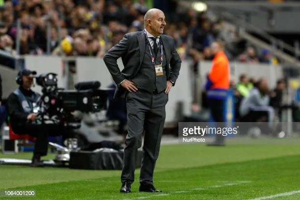 Russia head coach Stanislav Cherchesov looks on during the UEFA Nations League B Group 2 match between Sweden and Russia on November 20 2018 at...