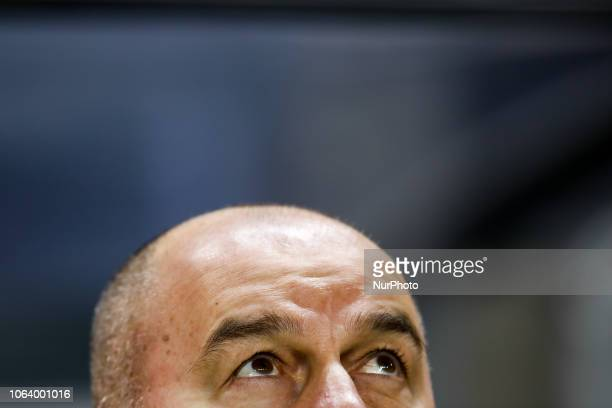 Russia head coach Stanislav Cherchesov looks up during the UEFA Nations League B Group 2 match between Sweden and Russia on November 20 2018 at...