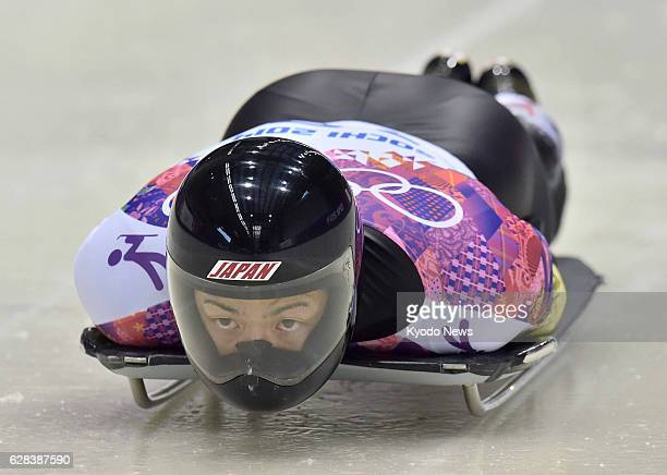 Russia - Hiroatsu Takahashi of Japan competes in the first heat of the men's skeleton at the Sanki Sliding Center during the Sochi Olympics in Russia...
