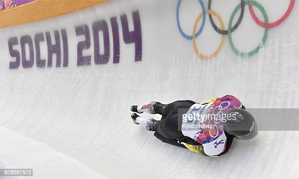 Russia - Hiroatsu Takahashi of Japan performs in the second heat of the men's skeleton at the Sanki Sliding Center during the Sochi Olympics in...