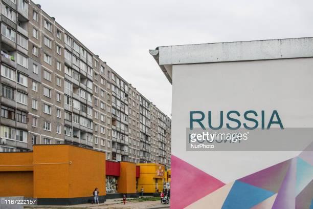 Russia inscription on the transformer building in front of soviet era block of flats is seen in Kaliningrad Russia on 7 September 2019
