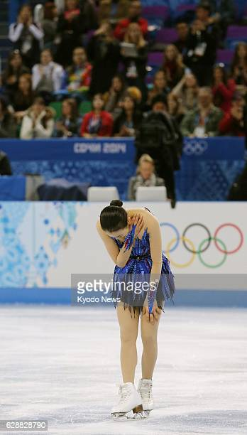 SOCHI Russia Japanese figure skater Mao Asada bows after her free program in the women's singles competition at the Sochi Olympics in Russia on Feb...