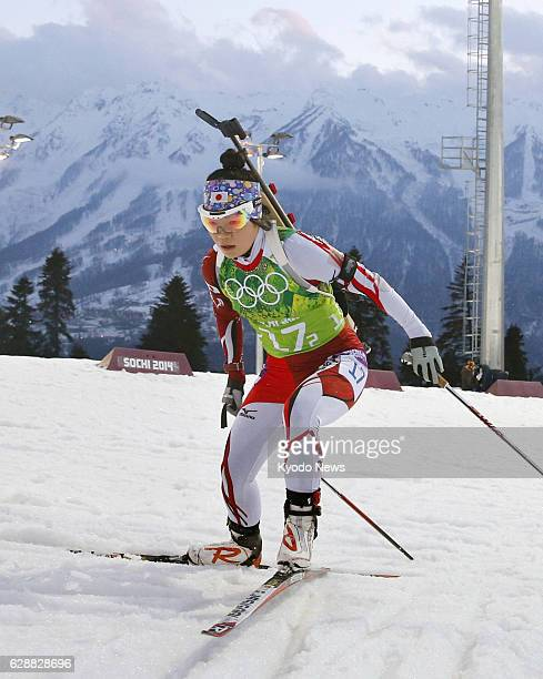 SOCHI Russia Japan's second runner Yuki Nakajima skis in the women's biathlon 4x6kilometer relay at the Laura Crosscountry Ski Biathlon Center during...