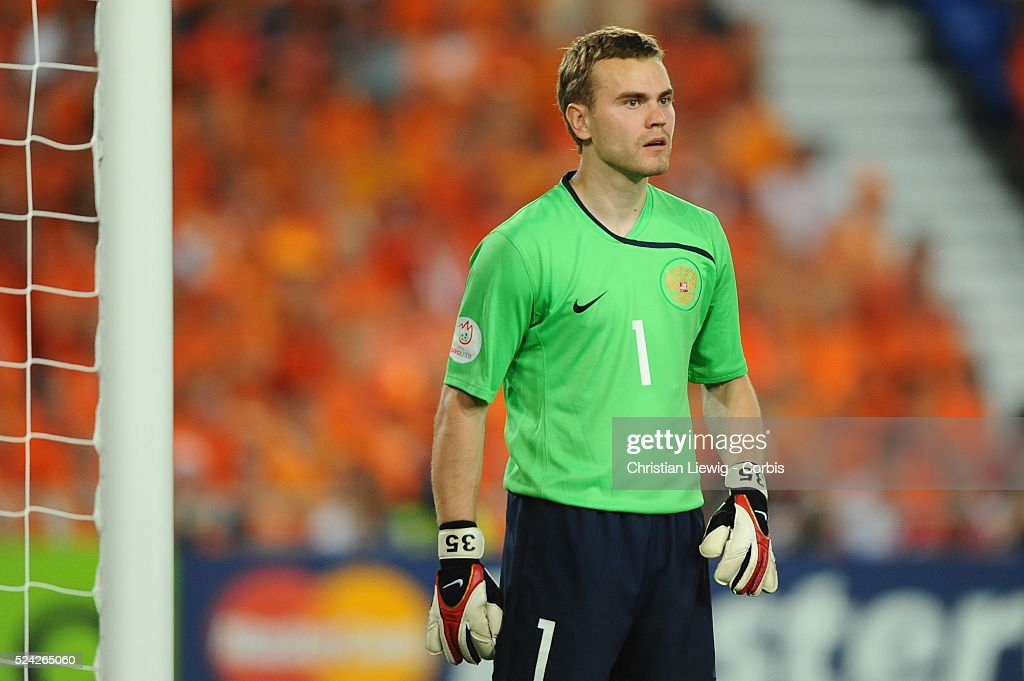 Russia keeper Igor Akinfeev during the EURO 2008 Quarter Final match between the Netherlands and Russia at the St Jakob Park stadium, Basel, Switzerland.