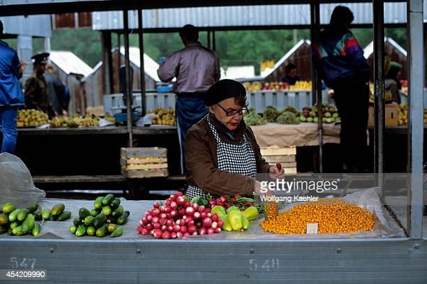 Russia Khabarovsk Market Scene Woman Selling Produce