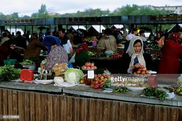 Russia Khabarovsk Market Scene Women Selling Produce