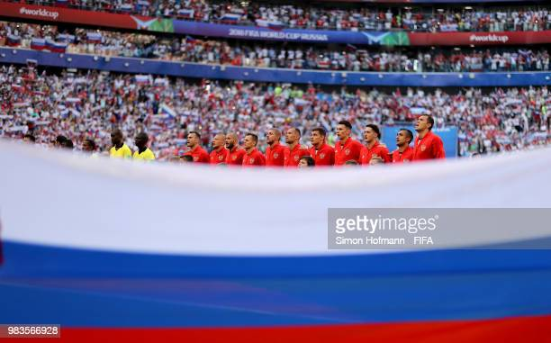 Russia lines upprior to the 2018 FIFA World Cup Russia group A match between Uruguay and Russia at Samara Arena on June 25 2018 in Samara Russia