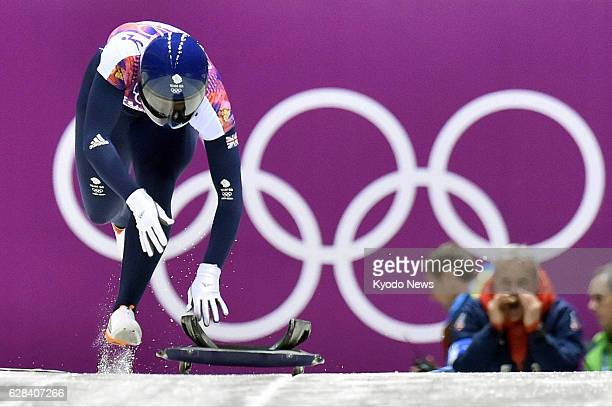 SOCHI Russia Lizzy Yarnold of Britain starts her run en route to victory in the women's skeleton event at the Sanki Sliding Center during the Winter...