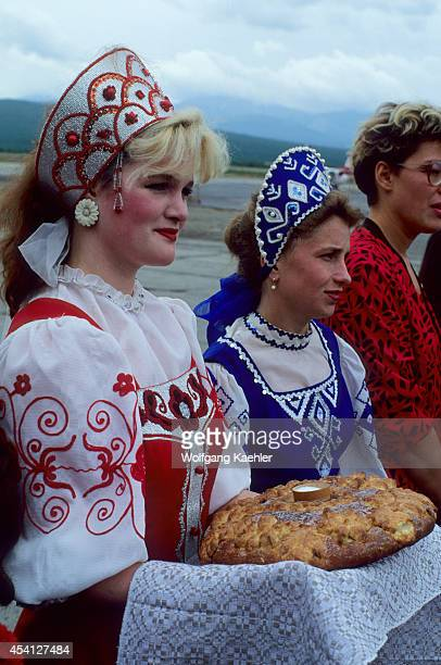 Russia Magadantraditional Welcome Ceremony Women Serving Bread Salt