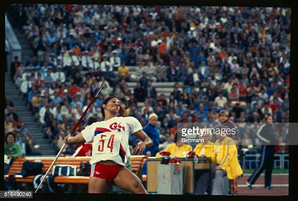 Russia Maria Colon of Cuba in action to win the Women's javelin final, setting a new world and Olympic record of 68.40 meters.
