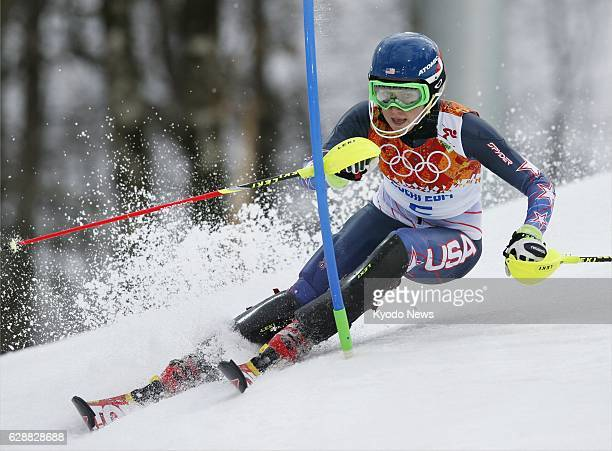 SOCHI Russia Mikaela Shiffrin of the United States competes during her first run in the women's slalom competition at the Rosa Khutor Alpine Center...