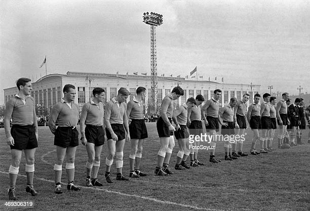Rugby football in Moscow Luzniki On a background the Palace of Sports 'Luzniki' Not earlier 1956