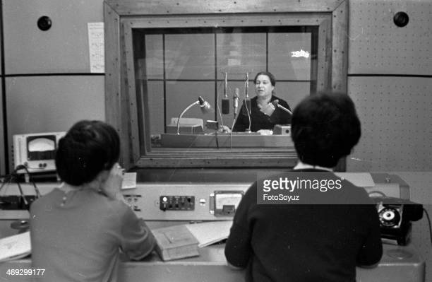 Russia, Moscow, 1960s: Agnija Barto broadcasts 'the Beacon'the traditional transfer 'To find the person'.