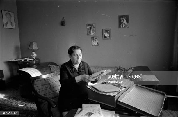 Russia, Moscow, 1960s: At home at Agnii Lvovny Barto, Agnija Barto assorts the next portion of the letters which have come on its name to Moscow,...