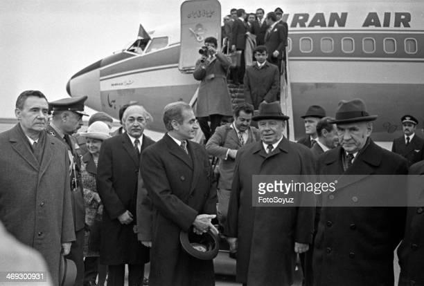 Visit shahinshaha Iran Mohammed Reza Pehlevi to Moscow Meet Andrey Gromyko Nikolay Podgornyj Alexey Kosygin Vnukovo October 1972