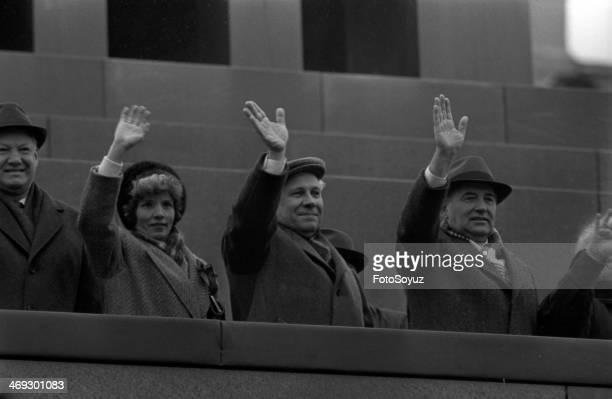 On a tribune of the Mausoleum Boris Yeltsin Anatoly Lukjanov and Michael Gorbachev The end 1980s the beginning 1990s