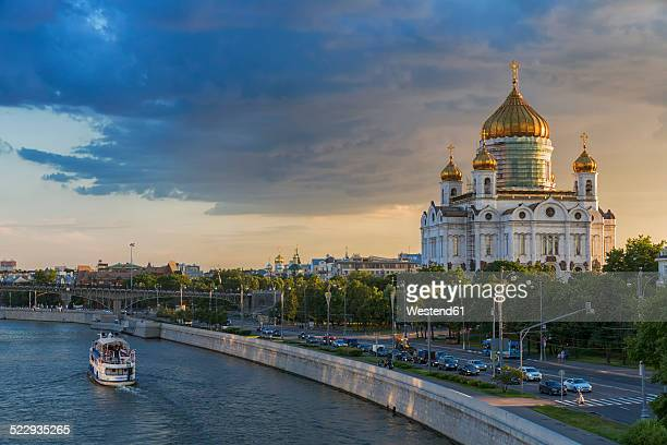 Russia, Moscow, Cathedral of Christ the Saviour and Moskva River