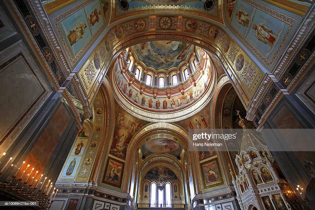 Russia Moscow Cathedral Of Christ The Saviour Interior Stock