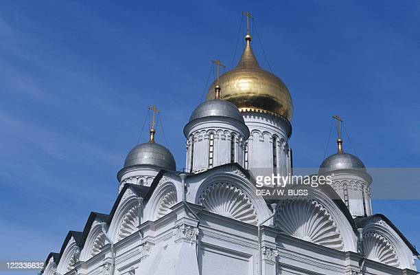 Russia Moscow Kremlin Archangel Cathedral Detail of the domes
