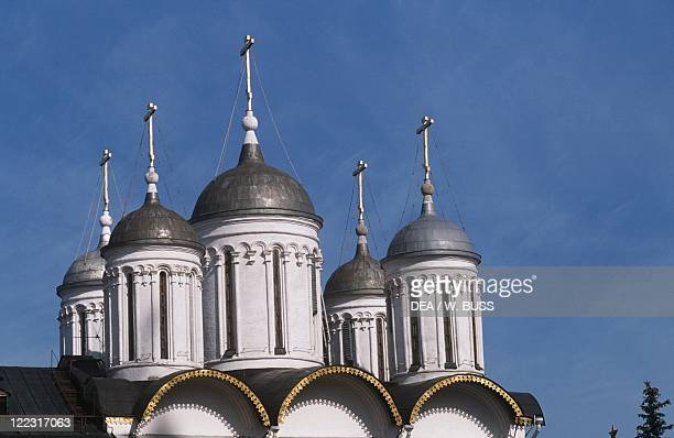 Russia - Moscow. Kremlin . Cathedral of the Assumption . The domes.
