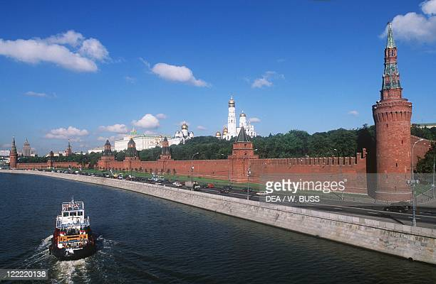 Russia - Moscow. Kremlin . View of fortified citadel and Moskva River.