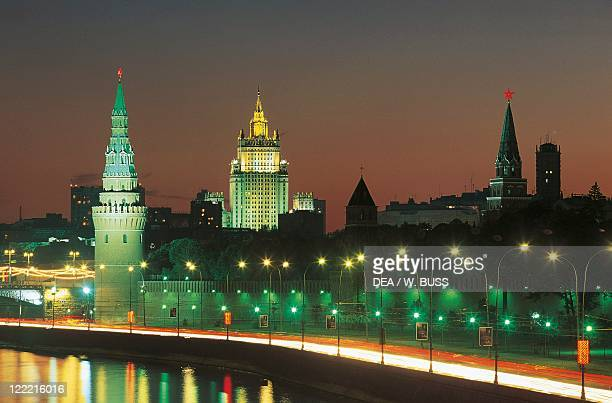 Russia Moscow Kremlin View of the fortified citadel from the Moskva River Night view