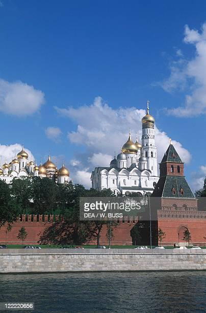 Russia - Moscow. Kremlin . View of the fortified citadel from the Moskva River.