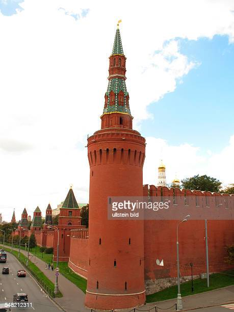 Russia Moscow Moscow Kremlin Wall and the BeklemisevBridgeTower