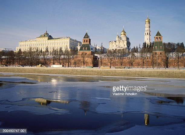 Russia, Moscow, Moscow River frozen, Kremlin